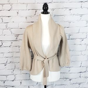BCBGMAXAZRIA Tan Merino Wool Tie Sweater